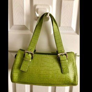 Alfani Lime Green Embossed Cowhide Leather Satchel